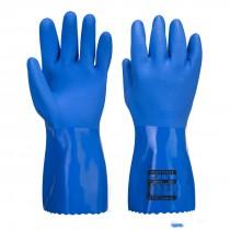 Chemiebestendige blauwe PVC handschoen